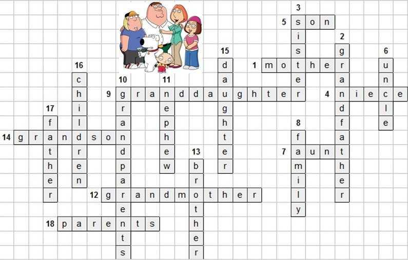 кроссворд семья на английском детский